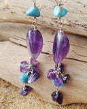 Long Amethyst Turquoise Howlite Passion Earrings, Sterling Silver, Amethyst, Turquoise Howlite, Long Amethyst Earrings