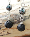 Hematite Lava Stone Sterling Silver Diffuser Earrings