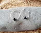Sterling Silver Lava Stone Hoop Earrings-Essential Oil Diffuser Earrings