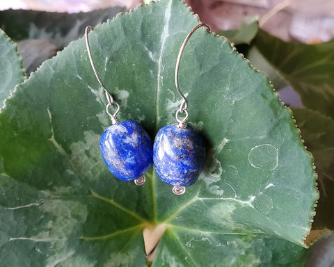 Blue Lapis Lazuli Nugget Earrings, Sterling Silver Lapis Lazuli Earrings