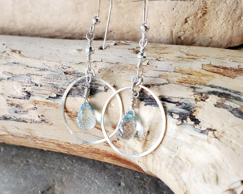 Blue Topaz Hoop Earrings, Sterling Silver Genuine Topaz