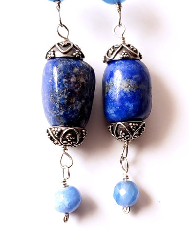 Long Blue Lapis Lazuli Agate Tribal Earrings, Sterling Silver, Blue Lapis, Blue Agate