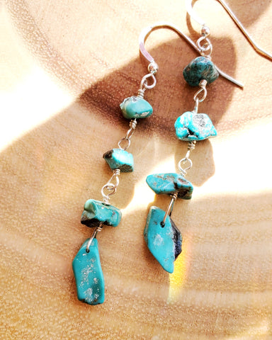 Long Vintage Natural Turquoise Earrings