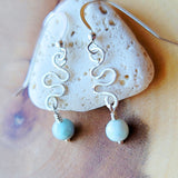 Labradorite River Earrings, Sterling Silver, Natural Larimar, Dominican Larimar,