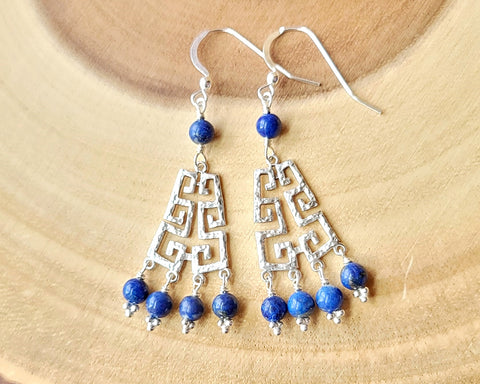 Long Lapis Lazuli Grecian Chandelier Earrings, Vintage Gemstones