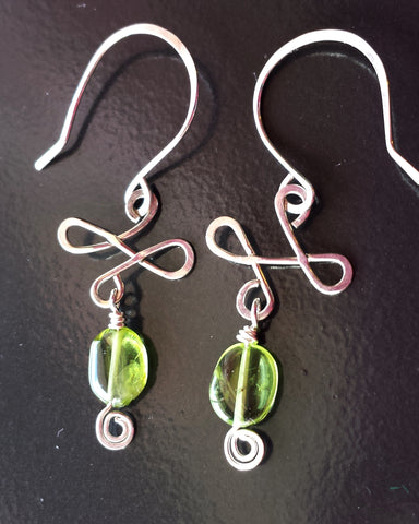 Celtic Peridot Sterling Silver Chandelier Earrings