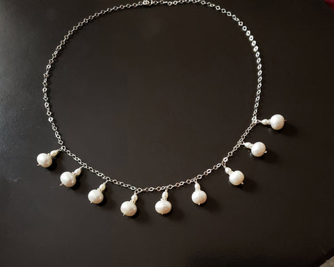Regal Pearl Dangle Necklace