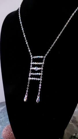 Art Deco Inspired Ladder Crystal Necklace, Clear Aurora Borealis Swarovski Crystal Sterling Silver Lariat