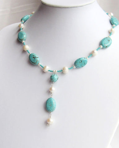 Turquoise Sky and Pearl Clouds Necklace, Bohemian, Sterling Silver, Beaded Turquoise and Pearl Necklace