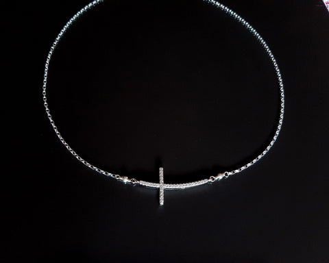 Brilliant Sideways Cross Necklace-Sterling Silver-Cubic Zirconia