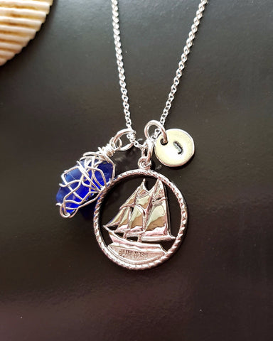 Blue Nose Beach Glass Initial Necklace-Handcrafted-Sterling Silver-One of a Kind-Sea Glass-Vintage Ship Pendant-Canadian Jewellery-Sea Glass, Personalized Pendant Necklace