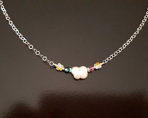 Personalised Pearl Butterfly Birthstones Necklace, Swarovski Crystals & Freshwater Cultured Pearls