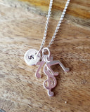Personalized Musical Necklace, Music Symbols, Initial Pendant, Sterling Silver