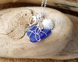 Blue Beach Glass, Shell, Dolphin Necklace, Sterling Silver, Wire Wrapped Pendant on Chain