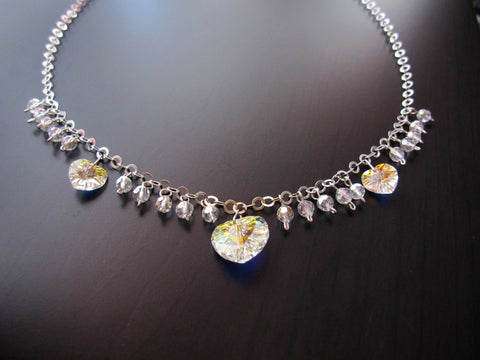 Passion Swarovski Crystal Heart Statement Necklace, Sterling Silver
