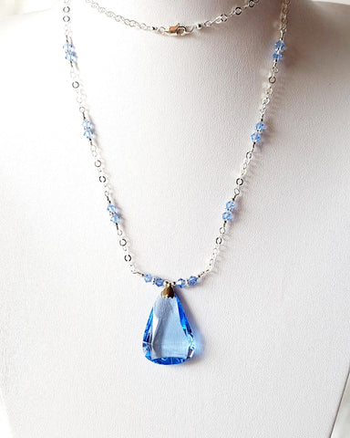 Long Vintage Art Deco Blue Crystal Necklace -Vintage Inspired-Art Deco-OOAK-925 Sterling Silver-Antique-Austrian Crystal