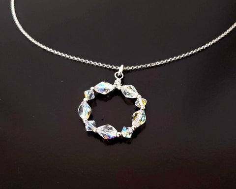 Crystal Infinity Ring Circle Pendant Necklace