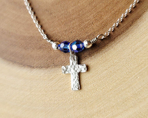 Personalized Cross Necklace, Small Sterling Silver Cross with Birthstone color Swarovski Crystals and Sterling Beads, Diamond Cut Rolo Chain.