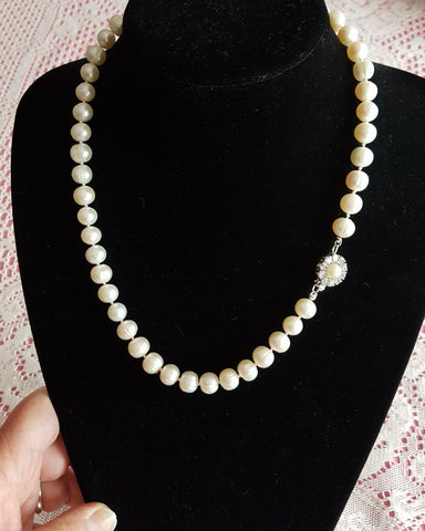 Royal Princes Pearl Necklace-Large White Freshwater Cultured Pearls-Sterling Silver-OOAK-Vintage Pearl Clasp-Hand knotted Silk