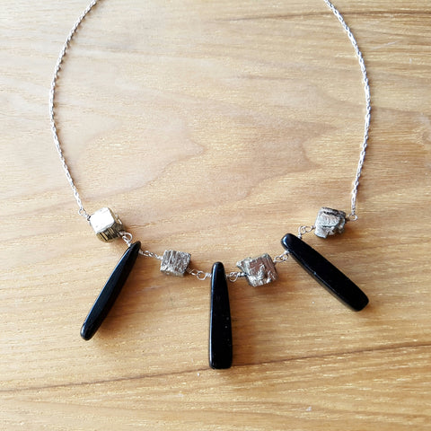 Pyrite Nugget Onyx Necklace