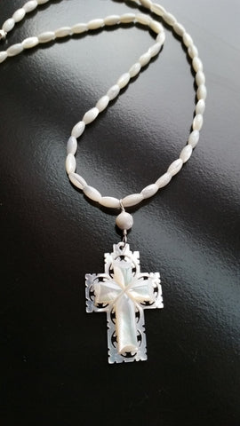 Holy Mother Of Pearl Cross Necklace, Hand carved Mother of Pearl Cross, Sterling Silver, Christian Necklace