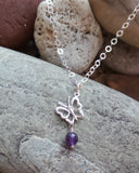 Butterfly Birthstone Necklace-Personalized Handcrafted Sterling Silver Gemstone Pendant Necklace