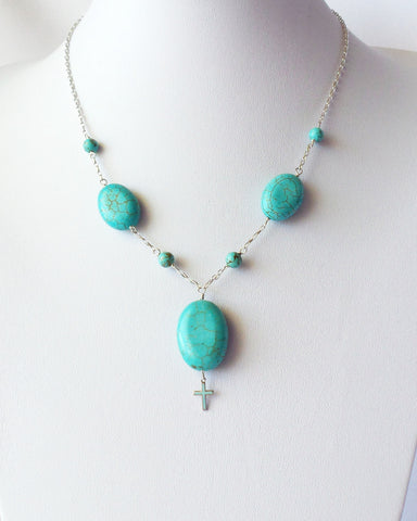 Turquoise Peace Cross Necklace-Handcrafted Sterling Silver & Genuine Turquosise Necklace with Vintage Cross.