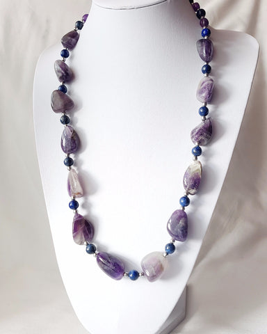 Amethyst Blue Lapis & Hematite Stream Necklace-Long Beaded Gemstone Necklace-Handcrafted-Sterling Silver-Large Amethyst-Blue Lapis-Hematite-Toggle Clasp