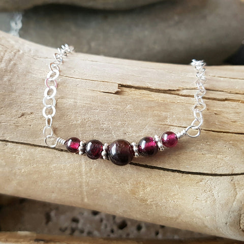 Juicy Garnet Necklace-Sterling Silver Genuine Garnet Necklace-Handcrafted-Natural Pinkish Red Garnets