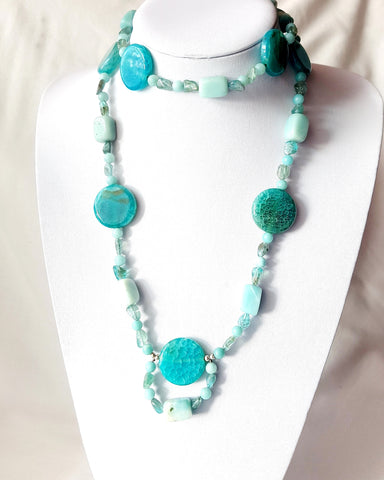 Amazonite, Apatite, Agate, All A's Long Gemstone Beaded Necklace
