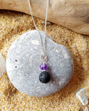 Birthstone Essential Oil Diffuser Pendant Necklace-Aromatherapy Jewelry-Jewellery-Sterling Silver-Lava Stone-Gemstone Pendant on Chain
