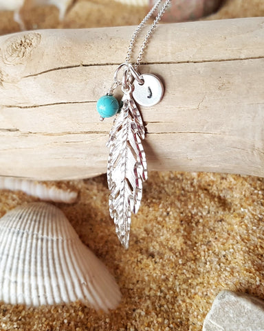 Peace Feather Necklace, Personalized Birthstone dangle, Initial pendant, Sterling Silver, Rollo chain, Hand stamped