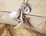 Starfish Pearl Initial Necklace, Personalized Beach Jewelry, Sterling Silver, Hand stamped, Freshwater Cultured Pearl