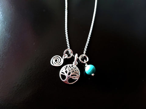 Personalzied Celtic Tree of Life, Eternity Birthstone Necklace, Sterling Silver,