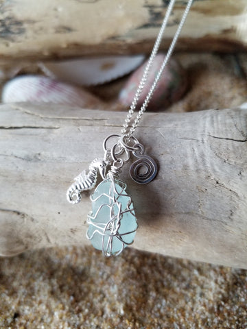 Seahorse Eternity Beach Glass Necklace