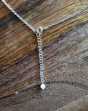 Moon Glow  Moonstone Necklace, back of necklace with long extension chain and Moonstone dangle.