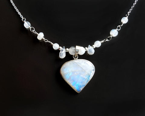 Moon Glow  Moonstone Necklace, Sterling Silver, Art Deco Inspired
