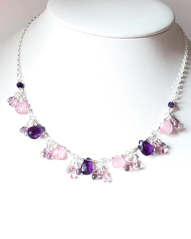 Summer Garden Petunia Gem Necklace-Handcrafted, One of a Kind, Sterling Silver Necklace made with Amethyst, Strawberry Quartz, Pink Topaz, Mystic Topaz