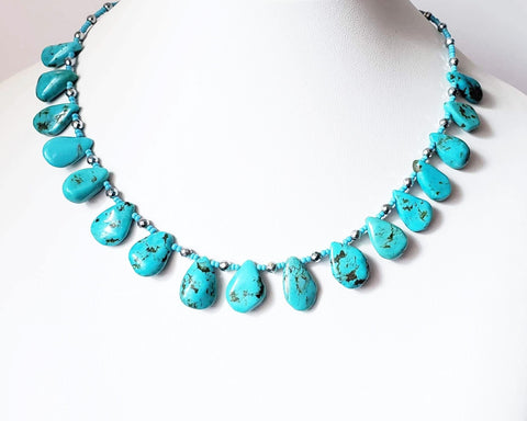 Sunshine on the Lake Necklace-Turquoise Beaded Collar, Sterling Silver, Turquoise