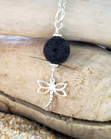 Dragonfly Lava Rock, Essential Oil Diffuser Pendant Necklace-Sterling Silver, Volcanic Rock
