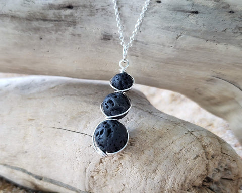 Trinity Essential Oil Diffuser Pendant Necklace, Aromatherapy Jewelry, Lava Stone Pendant on Chain-Sterling Silver-Lava Rock,