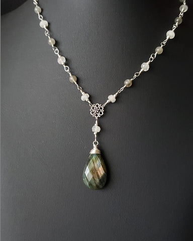 Art Deco Inspired Moonstone and Labradorite Necklace