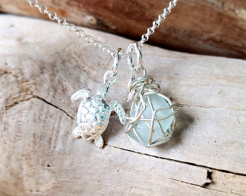 Turtle Beach Glass Necklace, Sterling Silver Wire Wrapped Pale Aqua Blue Beach Glass