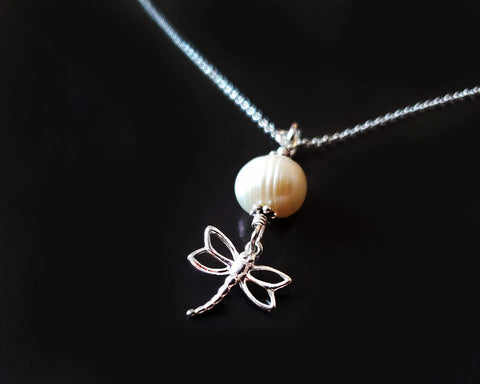 Minimalist Dragonfly Pearl pendant necklace made with all 925 Sterling silver and a large Genuine Freshwater Pearl.