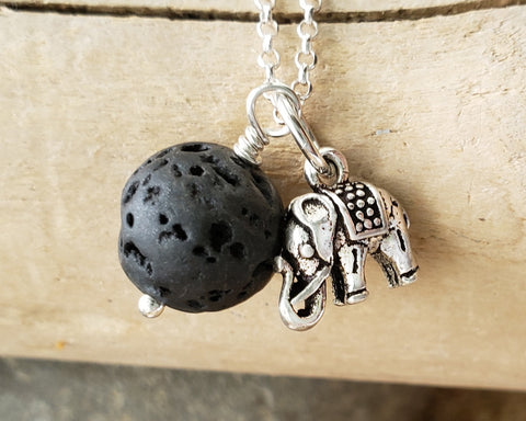 Elephant Lava Stone Essential Oil Diffuser Pendant Necklace, Sterling Silver