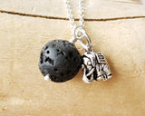 Elephant Lava Stone Essential Oil Diffuser Pendant Necklace