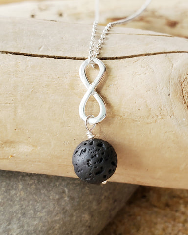 Infinity Lava Stone Essential Oil Diffuser Pendant Necklace, Aromatherapy Jewelry, Black Lava Rock Pendant on Italian Sterling Silver Chain