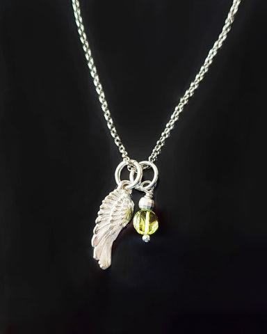 Peridot Wing Necklace, Sterling Silver Wing, Green Gemstone, August Birthstone, Psalm 91