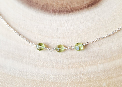 Peridot Today Tomorrow & Forever Necklace, Sterling Silver, Minimalist Peridot Necklace