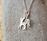 Musical Dear Necklace, Sterling Silver Treble Cleft Dear Pendant on Chain